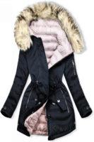 Oboustranná dámská zimní bunda s odepínatelnou kožešinou