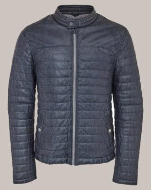 Pánská prošívaná zateplená kožená bunda z jehnětiny