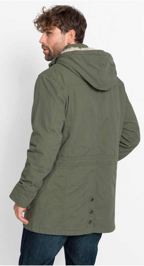 Pánský zimní parka kabát olivové barvy