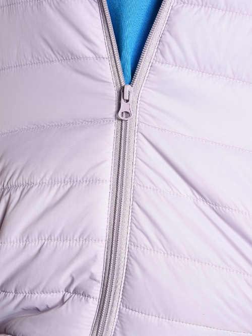 Pevný zip delší dámské zimní bundy