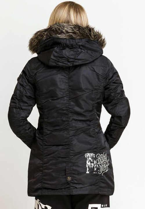 Pohodlná dámská černá zimní bunda s řasením