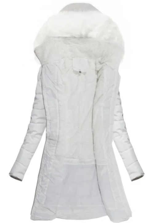 Prodloužený zimní kabát s kožešinovým límcem na kapuci