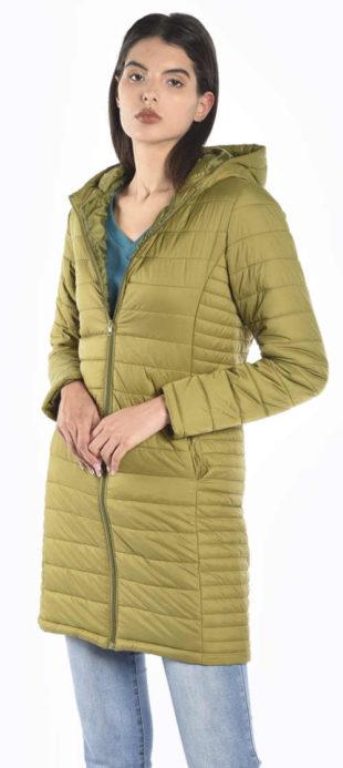 Prošívaná dámská zimní bunda zabalitelná do kapsičky