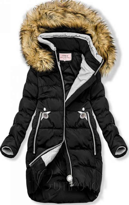 Prošívaná prodloužená bunda černé barvy