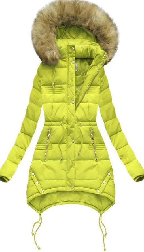 Prošívaná světle zelená zimní bunda s kapucí