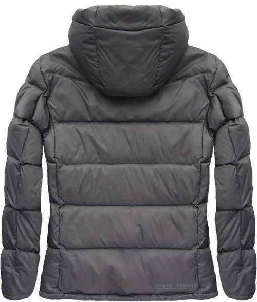 Šedá péřová pánská zimní bunda s kapucí