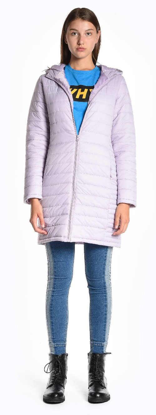 Světle fialková prodloužená dámská zimní bunda