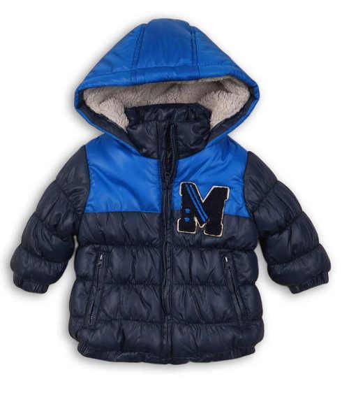 Teplá modrá prošívaná zimní bunda pro malé chlapečky