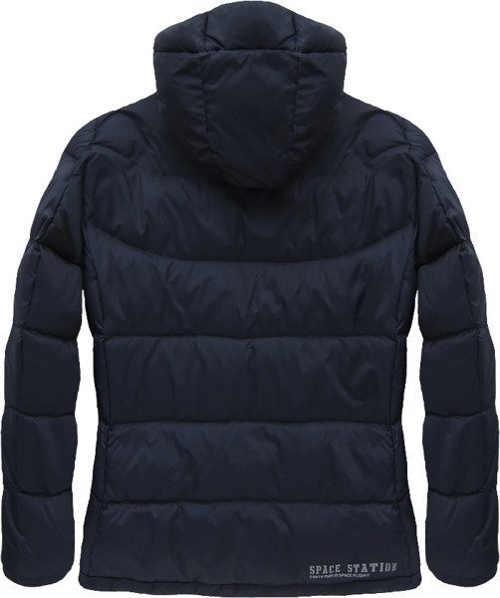 Tmavě modrá péřová pánská zimní bunda