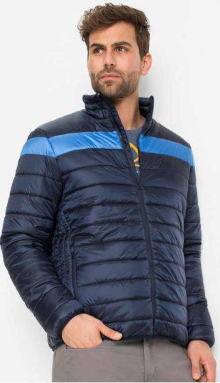 Vypasovaná tmavě modrá pánská prošívaná bunda do pasu