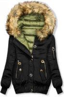 Výprodejová černá dámská zimní bomber bunda