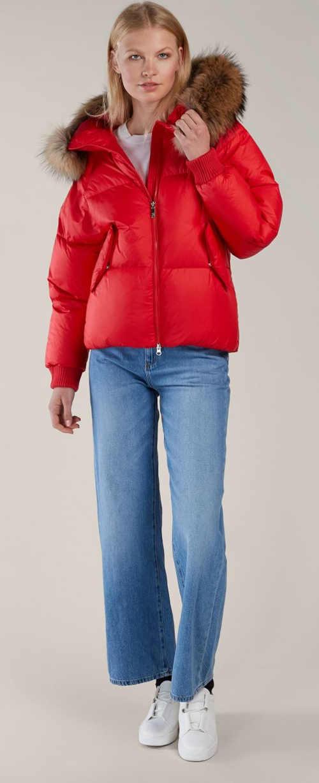 Zářivě červená péřová oversized dámská bunda Kara