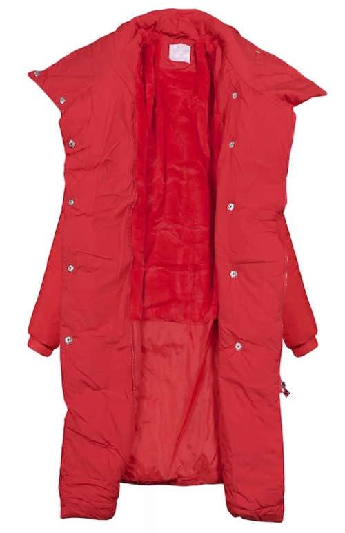 Zavinovací červený kabát na zimu