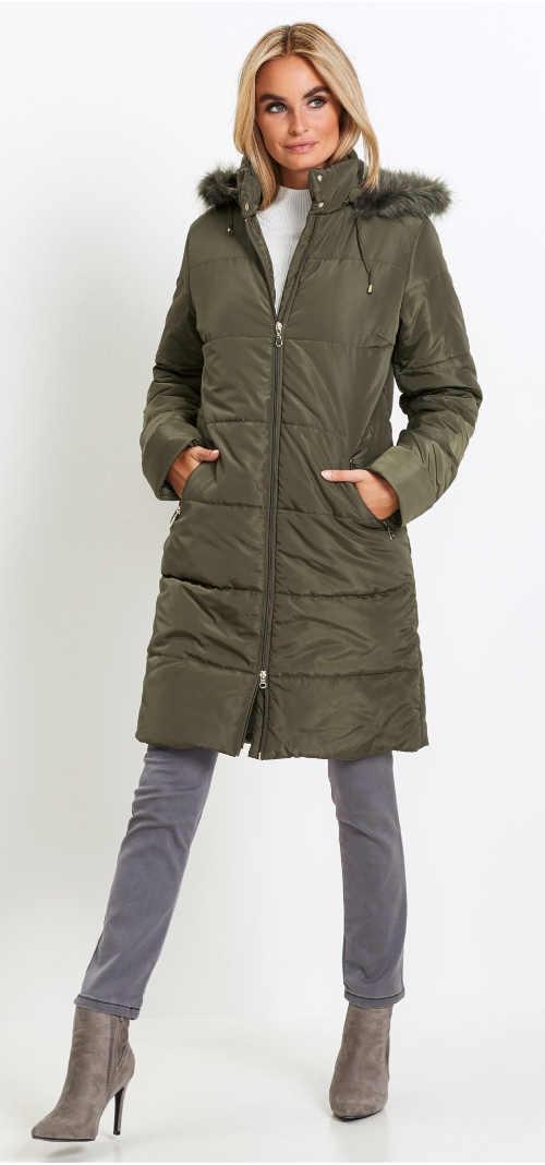 Zeleno-šedý prošívaný dámský zimní kabát Bonprix