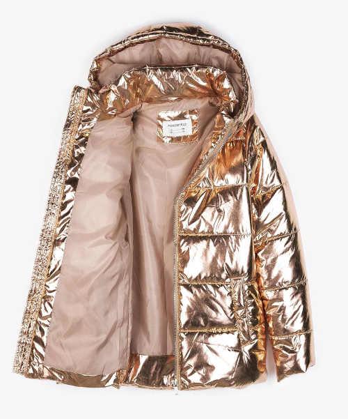Zlatá holčičí zimní bunda třpytivý kovový efekt