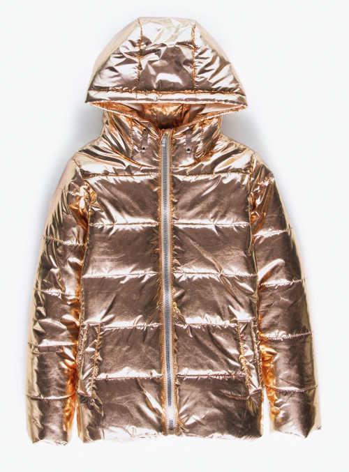 Zlatá metalická dívčí zimní bunda s kapucí