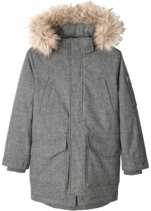 Chlapecká parka šedý melír s kapucí a umělou kožešinou
