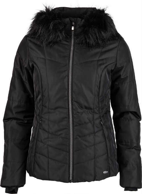 Dámská prošívaná lyžařská bunda s kožešinou a kapucí