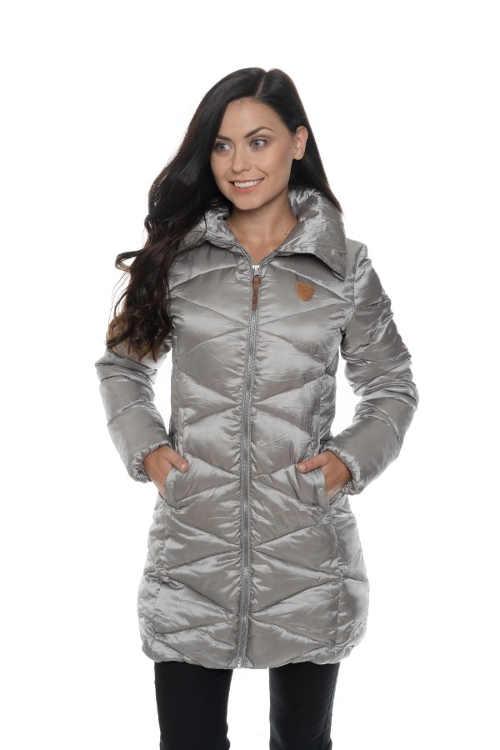 Dámský moderní zimní prošívaný kabát s vyšším límcem
