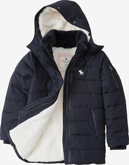 Dětská zimní bunda s kapucí v tmavě modrém provedení