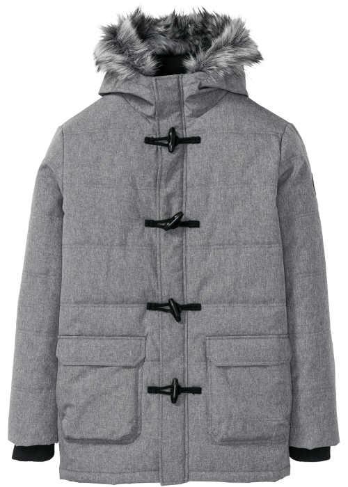 Moderní pánská zimní bunda v provedení šedý melír s kapucí