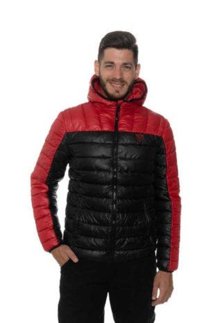 Pánská stylová prošívaná bunda s kapucí ve dvoubarevném provedení