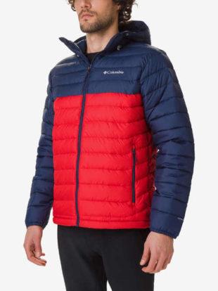 Pánská zimní bunda s kapucí v modro-červeném designu
