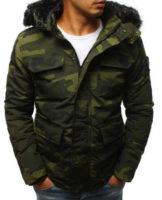 Pánská zimní bunda s kožešinovým límcem v army stylu