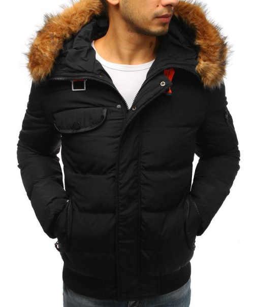 Prošívaná pánská zimní bunda s kapucí a kožešinovým lemem