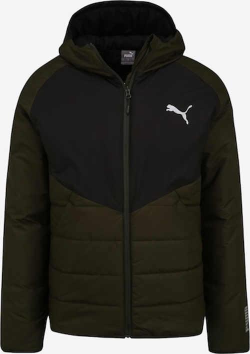 Zimní pánská prošívaná bunda v barevné kombinaci olivová s černou