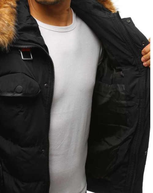 černá pánská zimní bunda s kapucí