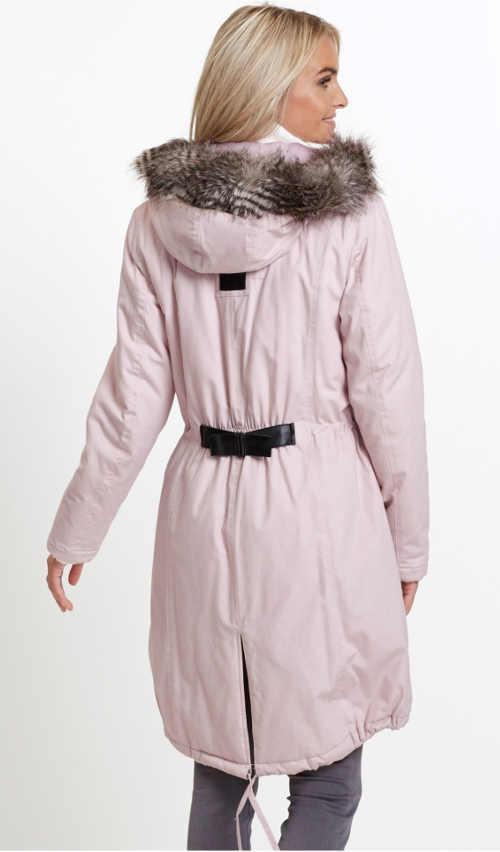 dámská parka s kapucí a kožešinou v matně růžové