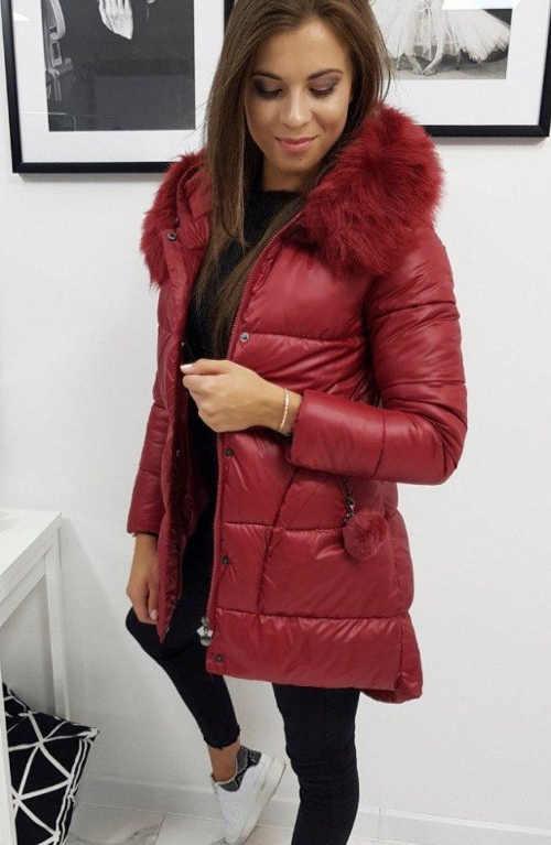 dámská zimní prošívaná delší bunda s kožíškem a kapucí