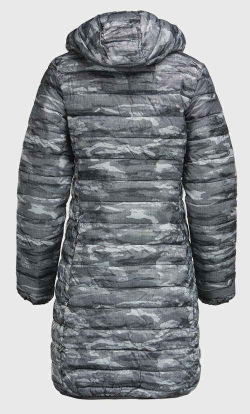 moderní dámský prošívaný kabát s kapucí