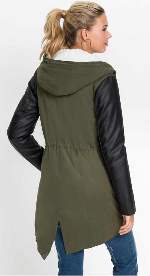 moderní dámský zimní kabát v působivé kombinaci materiálů