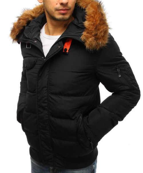 moderní pánská zimní bunda s kapucí a kožešinou