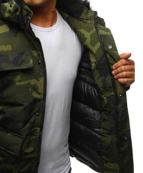 moderní pánská zimní bunda v maskáčovém designu