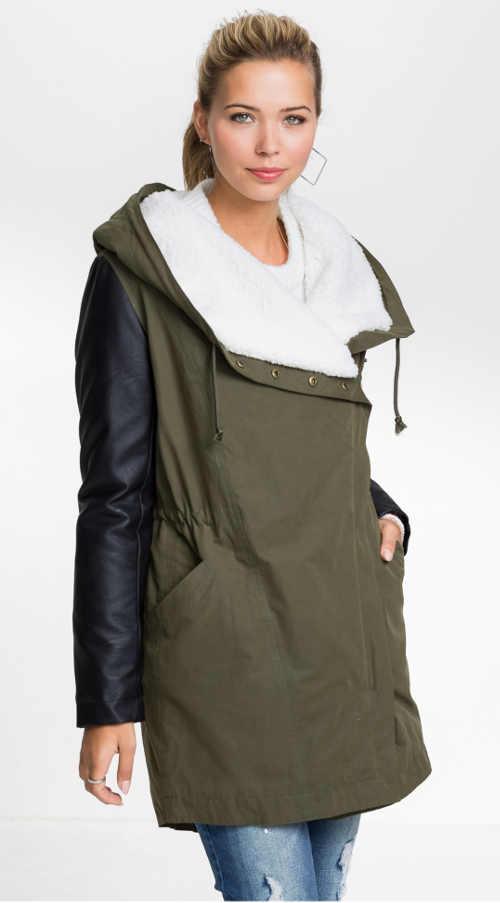 originálně řešený dámský zimní kabát