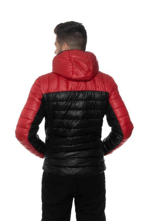 pánská prošívaná červeno-černá bunda