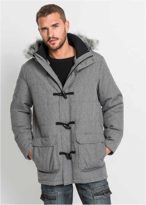 pánská stylová zimní bunda v šedém provedení