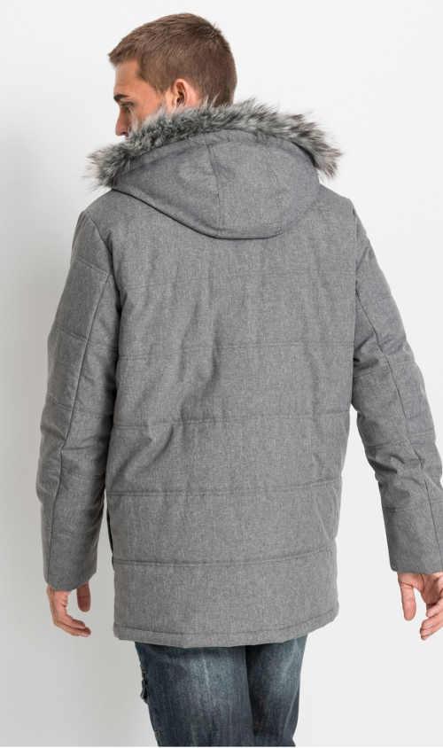 pánská zimní bunda s kapucí a kožešinovým lemem