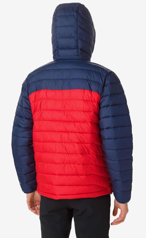 prošívaná červeno-modrá pánská zimní bunda