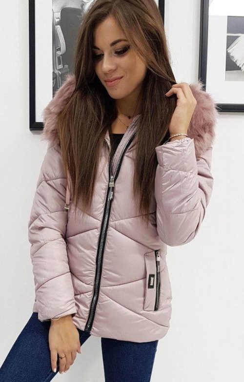 prošívaná dámská bunda v růžovém provedení