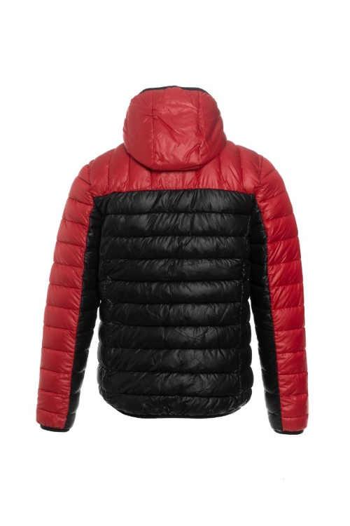 prošívaná pánská bunda do pasu červeno-černá