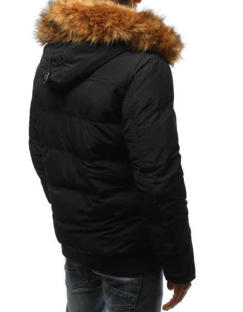 prošívaná zimní pánská bunda černá do pasu