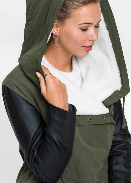 stylový zimní zateplený kabát v černo-olivovém provedení