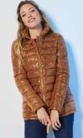 Dámská krátká prošívaná bunda z lesklého materiálu