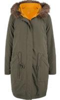 Dámská módní oboustranná bunda s kapucí a kožešinovým lemem