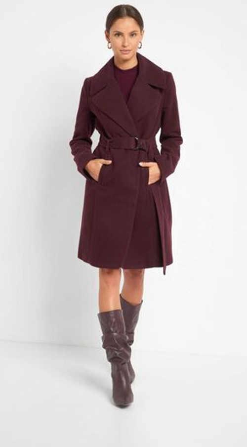 Dámský kabát se šálovým límcem v přiléhavém střihu