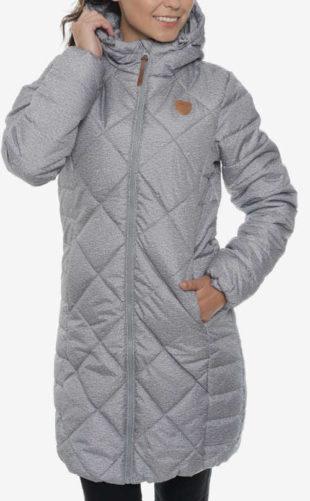 Dámský prošívaný kabát s kapucí v módní šedé barvě